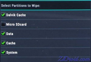 Select Partitions to Wipe