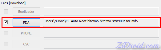 Auto-Root for N900T in PDA in Odin3