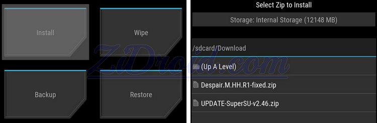 TWRP Select zip to Install