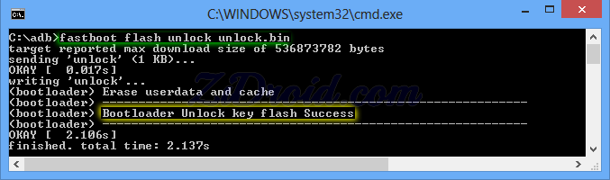 fastboot flash unlock unlock.bin