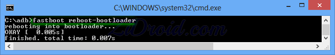 fastboot reboot-bootloader